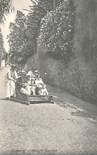 Vintage Postcard-Medeira - Mount Sledge, Portugal,  family riding slede