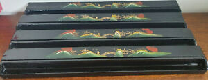 Vintage Set of 4 Chinese Lacquer Mahjong Racks / Stands plus Counting Sticks