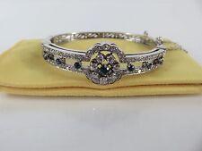 Art Deco 14k White Gold Diamond Blue Sapphire Bangle Bracelet, c1930s