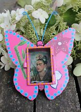 Frida Kahlo Self portrait Small Butterfly Shape Tin Niche Nicho Mexican Folk Art