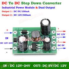 DC-DC Buck Step Down Converter DC 12V-24V to DC 5V/12V Dual Output Power Module