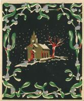 VINTAGE CHRISTMAS FOLK ART MISTLETOE CHURCH GOLD SILVER SILK SCREEN GREET CARD