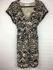 Postmark Anthropologie Women's Size Small Dress Floral Black Beige VNeck TieBack