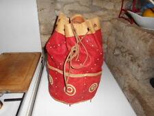 c1e8cfab52 Ancien sac seau vintage en cuir souple style marocain