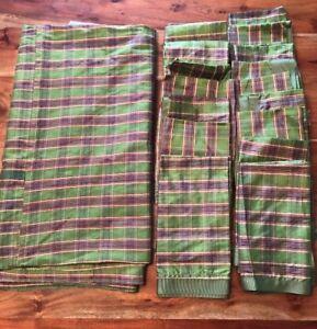 "Square Green Tablecloth 86""  Plaid Napkins Set of 16 Napkins Christmas Holidays"