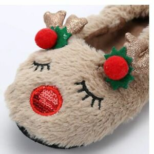 Deer Antlers Slippers Women's Winter Faux Fur Warm Home Casual Slip On Shoes New