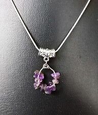 """PISCES AMETHYST ZODIAC PENDANT ON 16"""", 18"""", 20"""" SILVER PLATED CHAIN"""