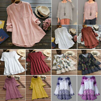 Women Ladies Casual Long Sleeve Baggy Cotton Linen T-Shirt Tops Blouse S-5XL Lot
