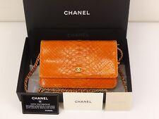 rk385 Auth CHANEL Orange Python Leather WOC Wallet On Chain Shoulder Bag