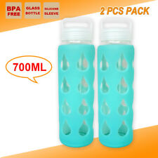 2x GLASS GYM TRAINING DRINK WATER BOTTLE Hydration CAMPING KETTLE BBQ SCHOOL CUP