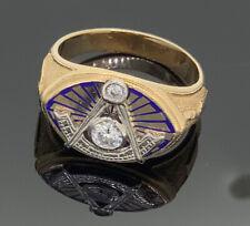 Vintage Masonic Double Diamond 14k Gold Ring Freemasonry Mason Size 10
