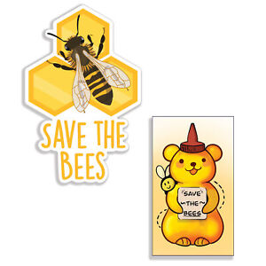 """[2 Ct] Cute Save the Bees Stickers. Large, 3.5"""" Honey Bee Decals by Ellopi"""