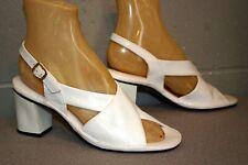 7 N Nos Vtg 70s White Sandal Shoe Mod Criss Cross Wide Strap Block Heel 1970s