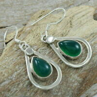 Green Onyx Teardrop 925 Sterling Silver Earrings Jewelry