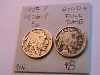 1923-P,1926-P (2) Buffalo Nickels Good+ Originals Indian Head Five 5C USA Coins