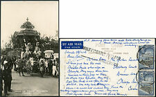 CEYLON 1948 VEL FESTIVAL REAL PHOTO PPC INSUFFICIENTLY PAID for AIRMAIL 2 x 6c