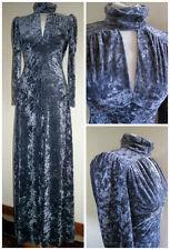 STUNNING VINTAGE 1970S OSSIE CLARK SILVER VELVET MAXI DRESS KEY HOLE DETAIL 10