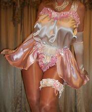Vtg Fair Pink Lined Pantie Satin Romper Sissy Knickers Garter L XL 1X