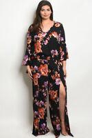 Womens Plus Size Black Floral Chiffon Top and Palazzo Pants Set 3X NEW