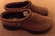 Daniel Green Brown Leather Slide Mule Clogs SZ 8 Narrow EUC