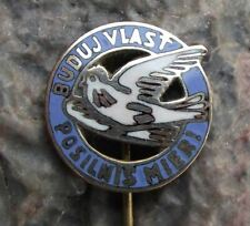 More details for antique white dove build your country to reinforce peace slovakia pin badge