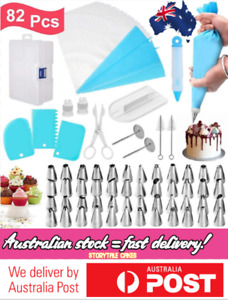 82 PC Set Cake Decorating Kit Supplies Tools Piping Tips Pastry Icing Nozzles AU