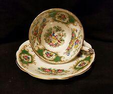 Vtg EB Foley Broadway English Bone China Green Hand Painted Tea Cup & Saucer