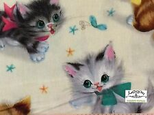 RPFMM78F RARE Kitty Kittens Cat Retro Vintage Cute Bows Cat Cotton Quilt Fabric