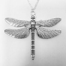 Large Silver Dragonfly Pewter Charm Pendant Amulet Necklace Insect Animal Gothic