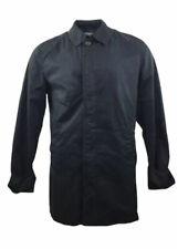 JAEGER London Pea Coat Black Cotton Smart Jacket Check Tartan Lining Large Mens