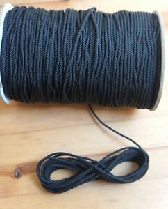 3mm Black Nylon Draw String Braided Piping Cord Waterproof Blind Round Tent Line