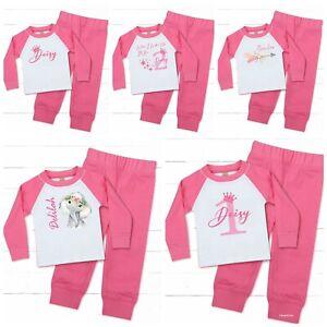💕 Personalised baby girls toddler pyjamas Birthday Christmas Pjs 0 1 2 3 4 Y