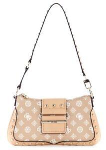NEW GUESS Women's Greta Brown Logo Print Small Shoulder Baguette Hobo Handbag