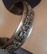 Chinese Vintage Handcrafted Silver Cuff Bangle Children Play in Garden Scene
