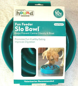 """Outward Hound Fun Feed Slo Bowl Holds 4 Cups Large 10.5"""" Diameter Teal - New"""