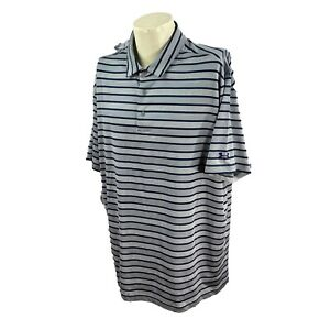 Under Armour Men's Loose HeatGear Stretch Gray Navy Stripe Golf Polo Shirt 3XL