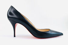 Christian Louboutin Clare Black Leather Pointed Toe Heel Pumps Size EU 42