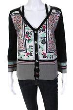 Etro Womens Cotton Mixed Print Matching Cardigan and Sleeveless Blouse Set Black