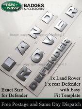 Land Rover lettres argent lettrage 3D badge emblème Defender 90 110 Capot Arrière