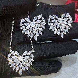 Women Elegant Heart Shape Pendant Necklaces Earring Sets Cubic Zirconia Jewelry