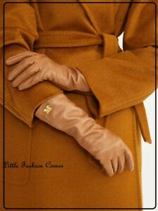 🌟New#   MAX MARA  Camel Nappa Leather Long Gloves   size 7(S)  ''AFIDE''