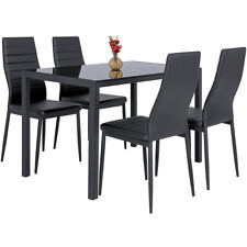 5Pieces Black High Gloss Glass Top Dining Table And 4 Faux Leather Dinning Chair