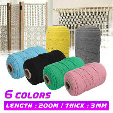 3mm Natural Cotton Rope Cord String Twisted Beige Craft Macrame Weaving DIY AU