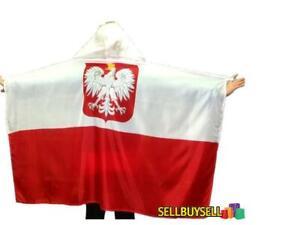 POLISH FLAG FOOTBALL FAN WITH HOODED GODŁO POLSKA FLAGA POLSKI PELERYNA KIBICA