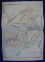 CHINA, TAIWAN, original antique atlas map, Weller, Blackie, 1884
