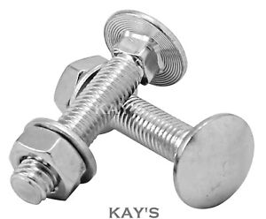 M6 CARRIAGE BOLTS CUP SQUARE COACH SCREWS WITH NUTS & WASHERS A2 STAINLESS STEEL