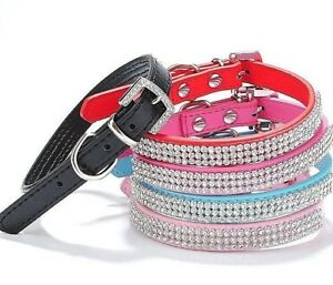 Rhinestone Diamond Dog Collar Leather Diamante Dog Puppy Cat Kitten XS S M L