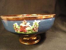 Antique Copper Luster Low Compote Blue Appliques
