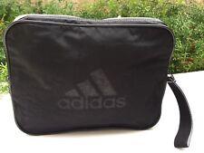 SALE ADIDAS Black White Zip Nylon Logo Large Wristlet Pouch Cosmetic Travel Bag