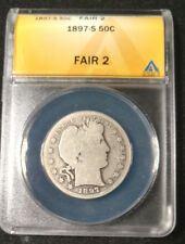 Better Date 1897-S Barber Half Dollar Graded by ANACS as a Fair 2